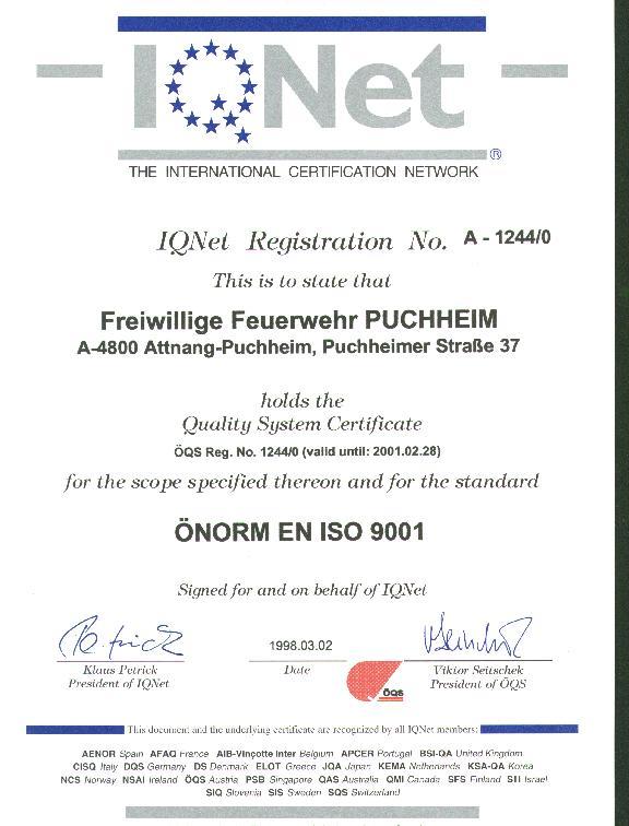 Feuerwehr Puchheim zertifiziert: Freiwillige Feuerwehr Puchheim
